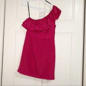 Forever 21 One Shoulder Pink Ruffle Women Dress